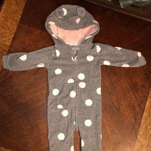 Carters Hooded Bear Fleece Jumpsuit 12 months